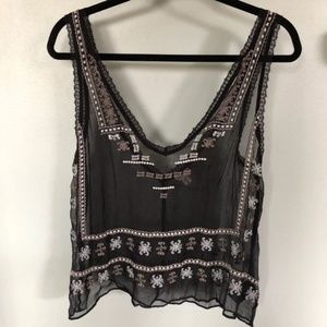 Ecote Sheer Embroidered Black Tank